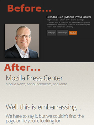 Before and After on Brendan Eich