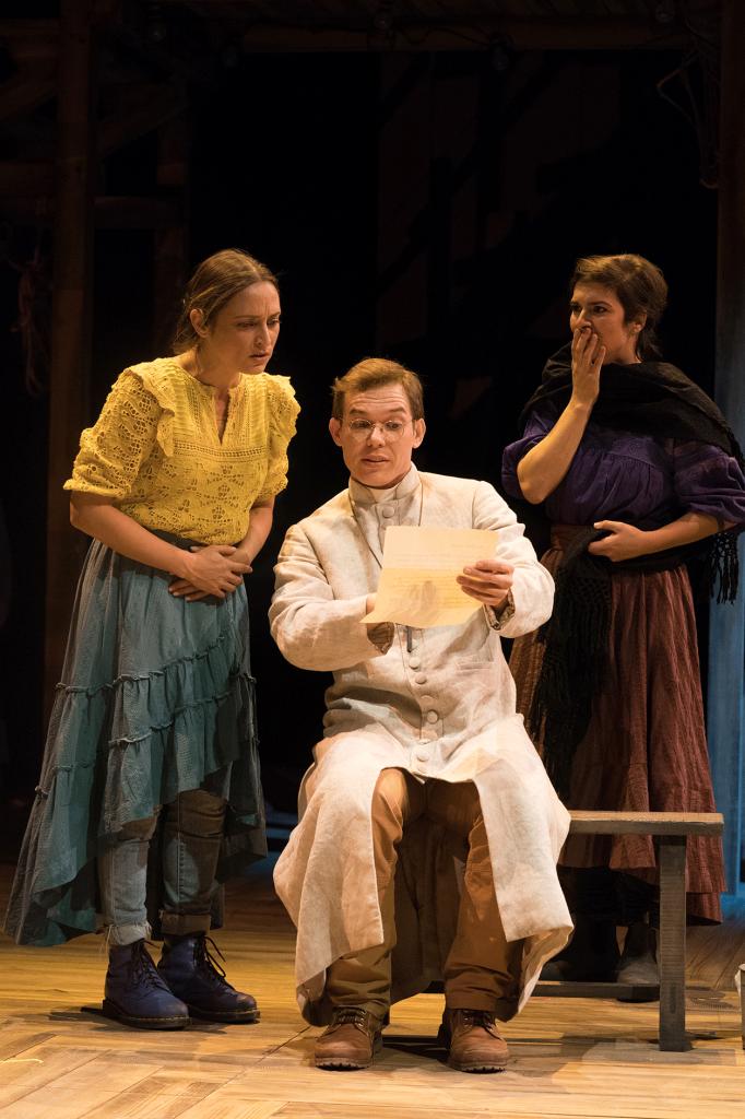 The Copper Children (2020): Caro Zeller (Margarita Chacón), Eddie Lopez (Father Mandin), Gabriela Fernandez-Coffey (Gloria). Photo by Jenny Graham, Oregon Shakespeare Festival.