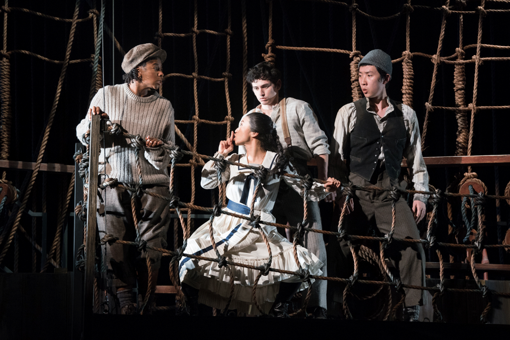 Peter and the Starcatcher (2020): Cyndii Johnson (Ted), Grace Chan Ng (Molly), Preston Mead (Boy), Dan Lin (Prentiss). Photo by Jenny Graham, Oregon Shakespeare Festival.