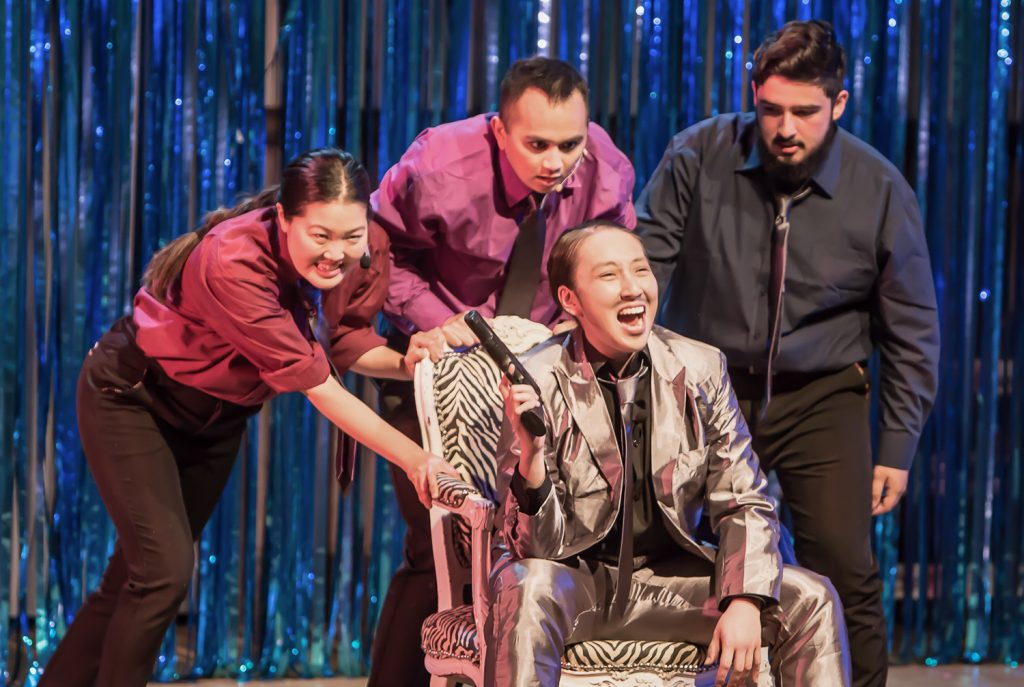 Joyce Domanico-Huh as Joey, John Charles Quimpo as T. J., Crystal Liu as Curtis, and Abraham Baldonado as Pablo. Photo by David Wilson.