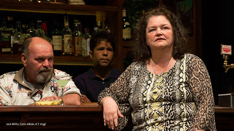"""Jack Willis, Carlo Alban, and K.T. Vogt in """"Sweat""""."""