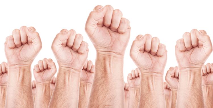 White Fists Raised