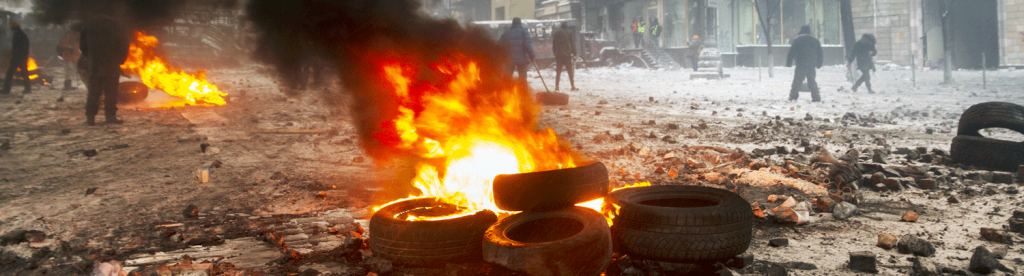 Burning Tires in Protest